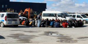 İki minibüsten 81 kaçak şahıs çıktı
