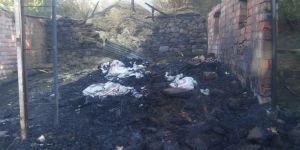 Yangında samanlık ve odunluk kül oldu