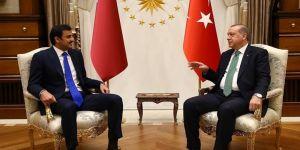 Erdoğan, Katar Emiri Şeyh Temim ile bir araya geldi