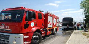 46 öğrencinin bulunduğu yolcu otobüsünde yangın