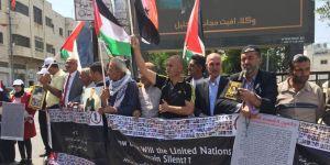 Filistinli şehitlerin aileleri İsrail'i protesto etti