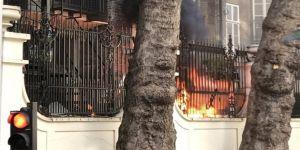 Suudi Arabistan Büyükelçiliği yanındaki binada yangın