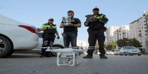 Kaldırım işgaline 'drone'li denetim