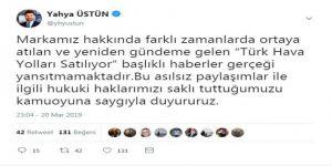 """Thy Basın Müşaviri Üstün, """"Türk Hava Yolları Satılıyor"""" İddialarını Yalanladı"""