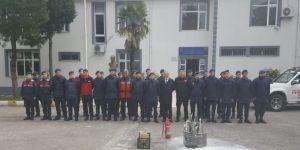 İlçe Jandarma Komutanlığı'nda Yangın Söndürme Tatbikatı