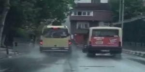 Minibüs şoförlerinin yarışı kamerada