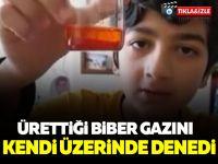 Ürettiği biber gazını kendi üzerinde deneyen çocuk İZLE