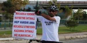 Bisikletiyle 'Adalet ve Demokrasi Yolculuğu'na çıkan işçi Eskişehir'de