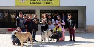 Beslediği köpeklerle öğrencilere hayvan sevgisi aşılıyor