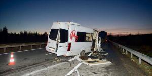 Taraftarları taşıyan minibüs kaza yaptı: 17 yaralı