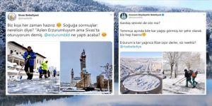 İl belediyelerinin sosyal medyadaki kar ve soğuk hava 'atışması' gülümsetti