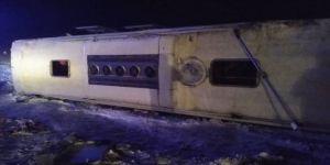 Kayseri'de yolcu otobüsünün devrilmesi soncu 23 kişi yaralandı