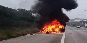 TEM Otoyolu'nda araç yangını !