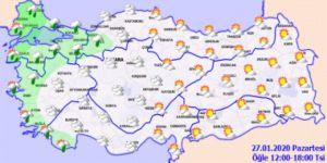 Bölgelerde beklenen hava durumu