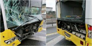 İstanbul'da iki metrobüs çarpıştı: 10 yaralı
