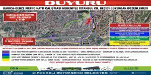 Metro çalışması nedeniyle Gebze ve Darıca'da yeni yol güzergahları