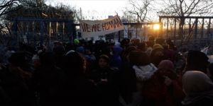 Sığınmacılardan Yunanistan sınır kapısı açılsın eylemi