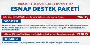 Hazine ve Maliye Bakanlığından Esnaf Destek Paketi uyarısı