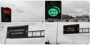 Kocaeli 'de trafik lambaları ve levhalarında 'evde kal' uyarısı