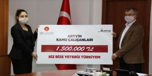 Artvin'de kamu çalışanlarından Milli Dayanışma Kampanyası'na 1,5 milyon lira destek