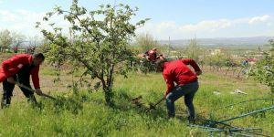 Kızılay gönüllüleri sokağa çıkamayan ailenin bahçe bakımını yaptı