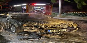 Seyir halindeki LPG'li otomobil yanarak küle döndü.