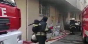 Gebze'de bir binada fuel oil tankının sökümü sırasında yangın çıktı