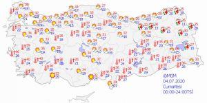 Meteoroloji verilerine göre bölgelerde hava durumu