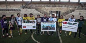 İdlibli ampute futbolculardan Ayasofya-i Kebir Cami-i Şerifi'nin ibadete açılmasına destek