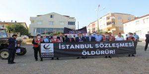 ''İstanbul Sözleşmesi Öldürür'' sloganıyla basın açıklaması