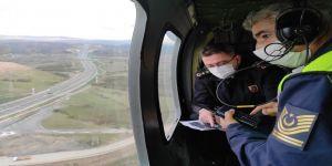 Jandarma, Kuzey Marmara Otoyolu'nu helikopterle denetliyor