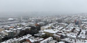 Beyaza bürünen Kocaeli havadan görüntülendi