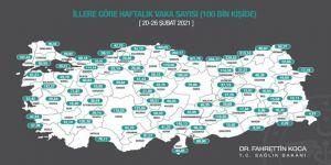 Sağlık Bakanı Koca 100 bin nüfusa düşen Kovid-19 vaka sayısının güncel haritasını paylaştı