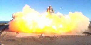 SpaceX'in Mars'a göndermeyi planladığı Starship aracı, deneme uçuşu sonrası yerde infilak etti