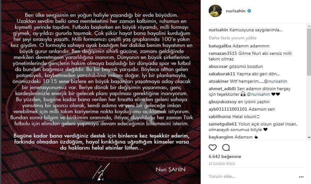 Nuri Şahin, A Mili Takım'a Veda Etti
