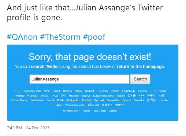 Julian Assange'nin hesabı twitter'dan silindi
