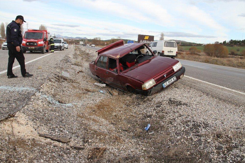 Beyşehir'de otomobil takla attı, sürücü yaralandı