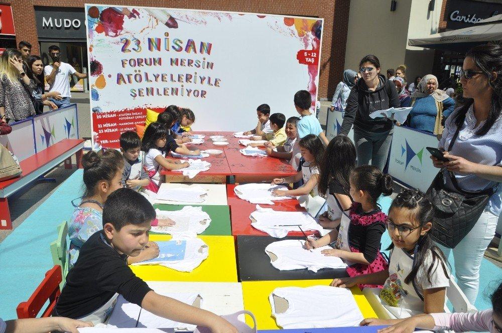 Çocuklar, Forum Mersin'in 23 Nisan'a Özel Eğlenceli Atölye Çalışmalarında Buluştu